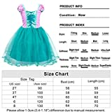 HenzWorld Princess Costume Mermaid Dress Up Layered Tutu Skirt Birthday Party Tole Pretend Cosplay Patchwork Outfits Jewelry Necklace Scepter Tiara Accessories Little Girls 5-6 Years