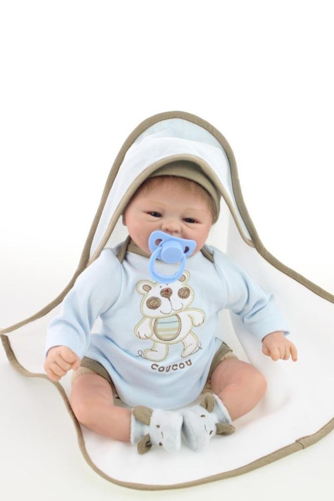 Npkdoll Reborn Baby Doll Soft Silicone 18inch 45cm Magnetic Lovely Lifelike Toy Cute Boy Girl Smile Blue Blanket   B015TMAB1G