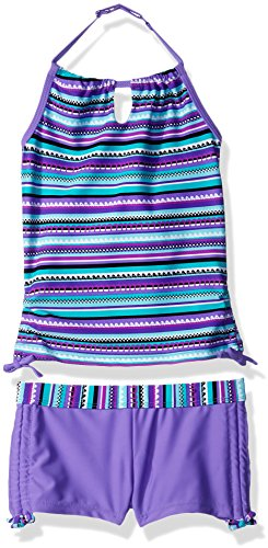 Free Country Girls' Little Crochet Print Halter Tankini Set, Ultraviolet, ()