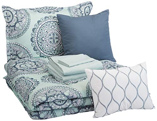 AmazonBasics 8-Piece Comforter Bedding Set, Twin / Twin XL, Sea Foam Medallion, Microfiber, Ultra-Soft