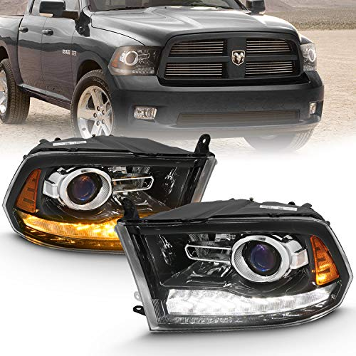 AmeriLite Black Projector Headlights for 2009-2018 Dodge Ram 1500 2500 3500 Assembly w/LED DRL Switchback Turn Signal Set - Passenger and Driver Side