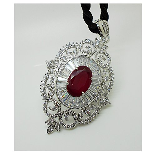 arrawana77 Ruby Pendant and Brooches & Pin 18k 22k 24k Thai Baht Yellow Gold Plated Cubic Zirconia Stones Jewelry