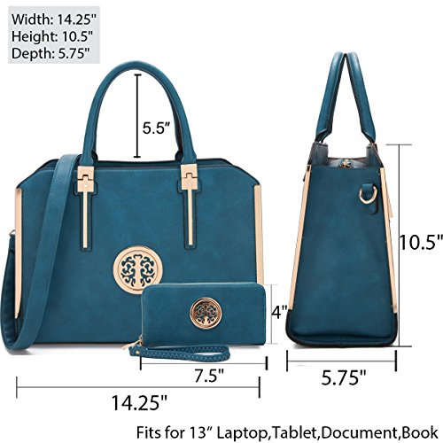 MMK Fashion Handbag for Women Classic Satchel handbag Designer Top handle purse Trending Hobo Tote bag 2 pieces(Handbag/wallet) Set (B-7555-W-BD) by 1988 Marco M.Kelly (Image #2)