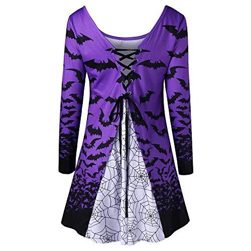iDWZA Women Halloween Bats Spider Web Print Flare Hem Bandages Shirt Tops Blouse(XL,Purple)