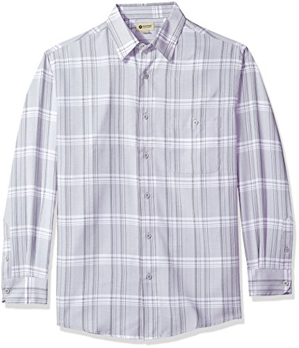 Haggar Men's Long Sleeve Microfiber Woven Shirt, Stainless Steel Marl, L