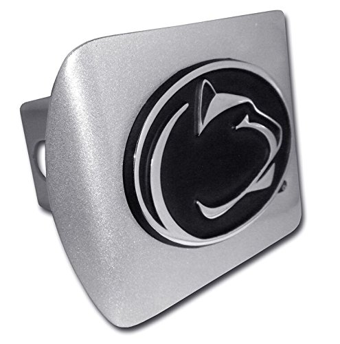 Penn State Nittany Lions Brushed Metal Trailer Hitch Cover with Chrome Metal Logo ()