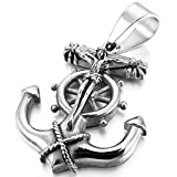 INBLUE Men's Stainless Steel Pendant Necklace Anchor Nautical Steering Wheel Jesus Christ Crucifix Cross 23 inch Chain