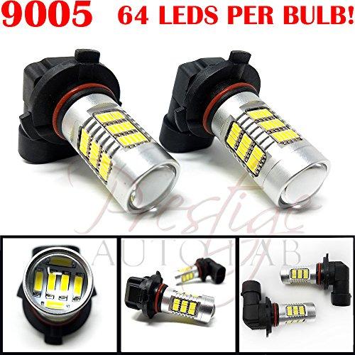 2x 9005 9145 H10 Size Projection LED Super Bright 5000k - 6000K White Fog Light DRL Bulb Pack of 2