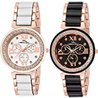 MECLOW Analogue Black and White Dial Watch for Women/Girls (Set of 2)