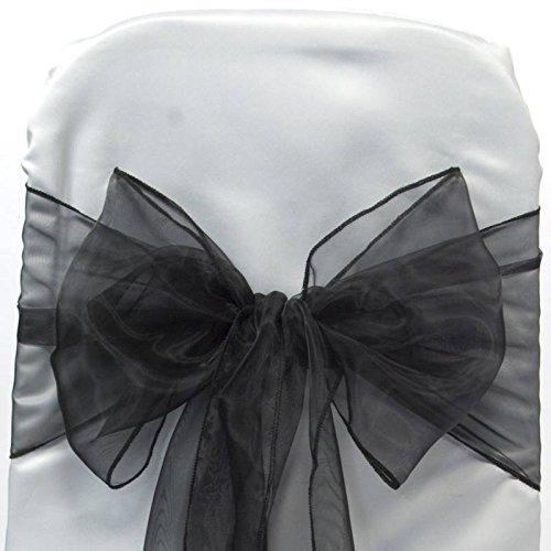 a Chair Sashes / Bows sash for Wedding or Events Banquet Decor Chair bow sash -black ()