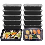 Freebily 25pcs Rectangle Disposable Single Compartment Meal Prep Containers with Lids Plastic Food Storage Containers Bento Box Lunch Box,Microwave/Dishwasher/Freezer Safe Black 1000ml