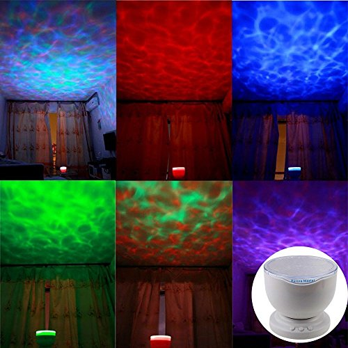 75w Projection Lamp (Aurora Master Light , Pinron Ocean Wave Night Light Projector LED Lamp Pot Music Input Smartphone Speaker Relax Romantic Light 12 LED 7 Multicolor Light for Christmas and Other Festival)