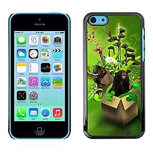 TopCaseStore / la caja del caucho duro de la cubierta de protección de la piel - Design Box Animals Funny - Apple iPhone 5C