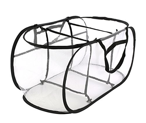 Collapsible Mesh Laundry Hampers, Estorager 3 Compartment Pop Up Sorter Baskets with Durable Portable Handles (Black Handle, S) by Estorager