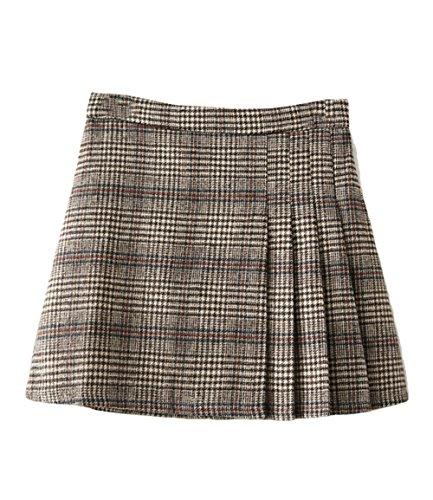 Hanayome Girls' Skirt Winter Woolen Casual Plaid Pleated Mini Dresses SC16 (Gray, M) Tweed Mini Dress