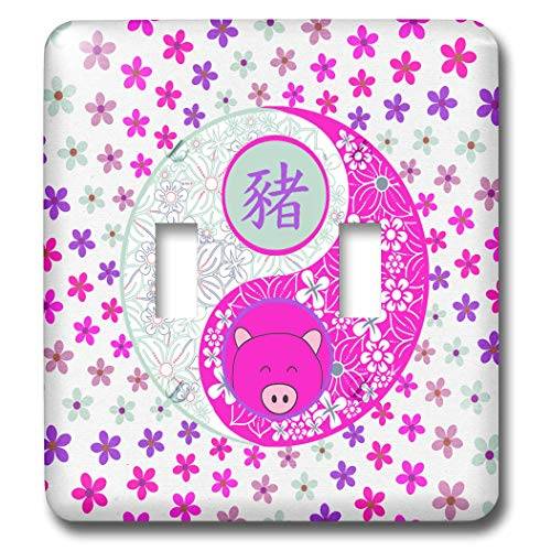 3dRose Beverly Turner Chinese New Year Design - Bright Pinks and Purple Flowered Yin Yang, Pig Face, Sign of the Pig - Light Switch Covers - double toggle switch (lsp_287018_2) (Pig Flowered)