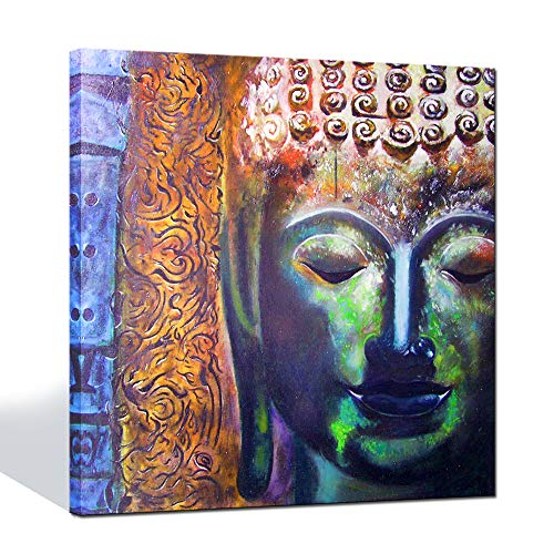 Live Art Decor - Canvas Print Wall Art Colorful Artistic Buddha Head Portrait Painting Printed On Canvas Modern Home Decor Framed Artwork Ready to Hang Religion Gifts- 24 x 24 ()