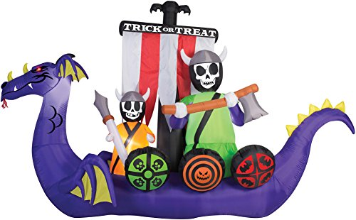 Halloween Giant 12' Undead Skeleton Crew Viking Ship Inflatable Yard Prop Decoration - Nylon Giant Inflatable