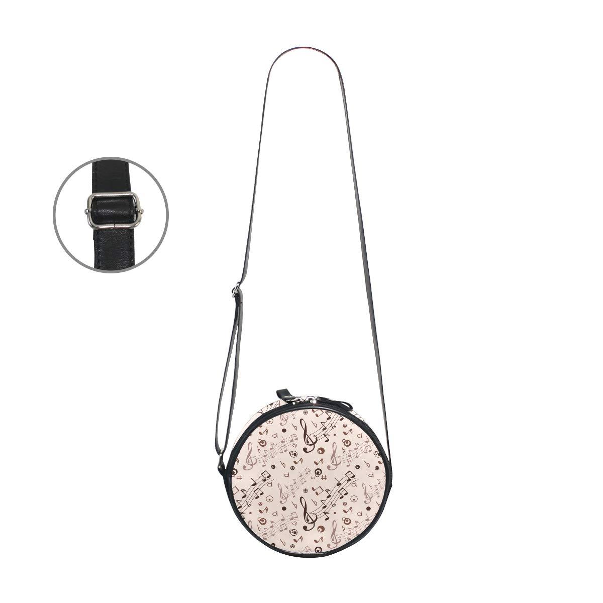 KEAKIA Musical Notes Round Crossbody Bag Shoulder Sling Bag Handbag Purse Satchel Shoulder Bag for Kids Women