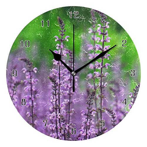 (HSGRSSGF Wall Clock Pink Flowers Nature Petal Garden Round Style E Home Decor,Silent Non-Ticking,Battery Operated Art Decorative for Kitchen,Living Room,Kids Room and Coffee Decor (10 Inch))