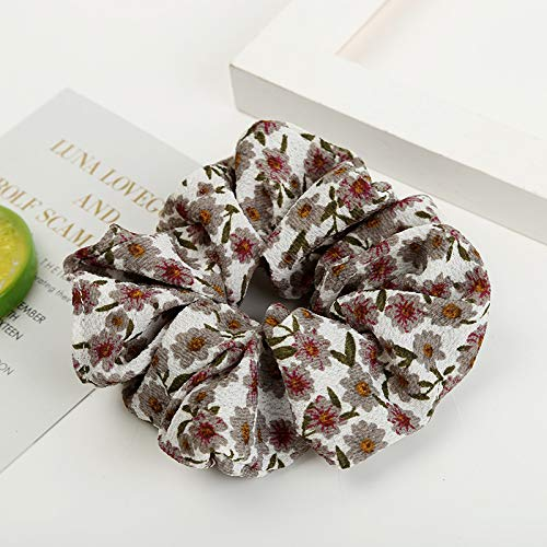 Women Lovely Print Hair Bands Floral Hair Hair ring Girl's Cute Accessories Vintage Ponytail Holder A