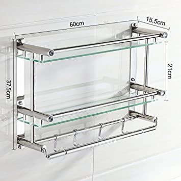 Amazon.com: Acero inoxidable toalla rack doble baño Estantes ...