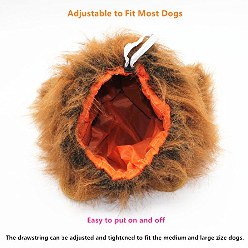 Bayppy Realistic and Funny Lion Mane for Dog Lion Costume for Medium and Large Dogs with Ears and Tail Adjustable Comfortable Lion King Wig Halloween Costumes Dark Brown Dog Outfit -