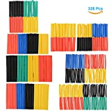 Asiv 2:1 Heat Shrink Tubing Tube Sleeving Wire Cable, Set of 328(5 Colors 8 Sizes)