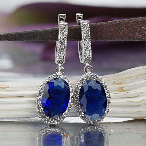 Sterling Silver Blue Iolite Large Charm Earrings Victorian Work Turkish Jewelry