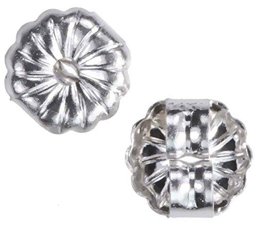 - uGems 14K White Gold Swirl Earring Backs Small 5mm (1 Pair)