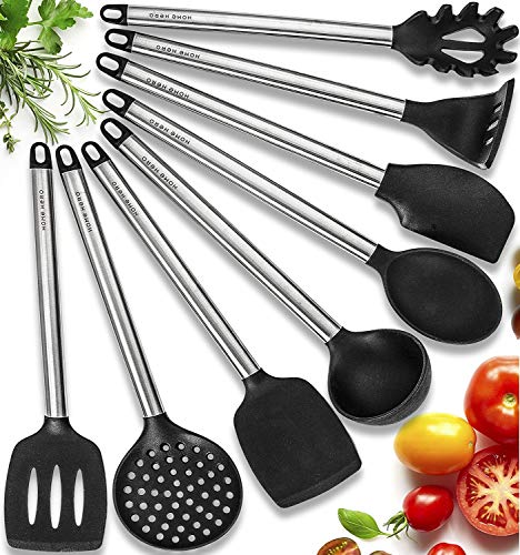 Silicone Gadgets (11 Silicone Cooking Utensils Kitchen Utensil set - Stainless Steel Silicone Kitchen Utensils Set - Silicone Utensil Set Spatula Set - Silicone Utensils Cooking Utensil Set - Kitchen Tools and Gadgets)