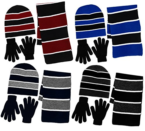 Boy's 3 Piece Knit Hat, Scarf & Gloves Set (Black-Charcoal (3 Piece Set Hat)