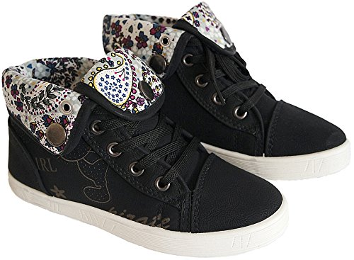HIGH TOP Sneaker Mädchen Kinder Knöchelschuhe gr.30-35 art.nr.29082 schwarz