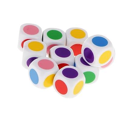 10 Piezas / Conjunto Juegos de Mesa Aprendizaje 16mm Dados en Cuadritos de 6 Colores: Juguetes y juegos