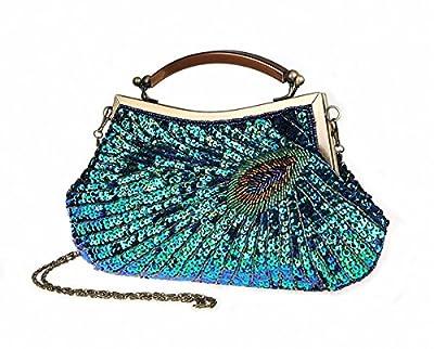 Pulama Woman Handbag Beaded Clutch PEACOCK SEQUINS Purse/Wallet/Evening Bag, Handmade for Wedding Party