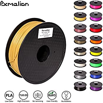 Pxmalion PLA 3D Filament, Gold, 1.75mm, Accuracy +/- 0.03mm, Net Weight 1KG(2.2LB), Compatible with most 3D Printer & 3D Printing Pen
