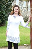 Art to Wear Modern White Black Women's Jersey Tunic Top ¾ Sleeve Hand Printed Short Dress Size Medium