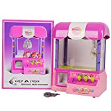 Globe House Products GHP Kids 10.5'' Lx7.5 Wx13.4 H Pink Electronic Claw Game Crane Coin Machine w 24 Token