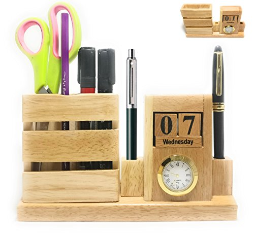 Crownlit ALL in ONE Wooden Desk Organizer, Mobile Stand,2 Pens Stand, Card Holder, Table Clock and Table (Wooden Calendar Holder)