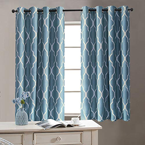 Moroccan Pattern Linen Drapes Grommet Top, Room Dimming Flax Linen Blend Textured Ironwork Printed Window Covering for Living Room (50 Width x 63 Length, Blue on Flax, Set of 2)