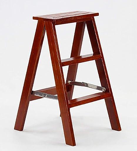 QQXX 3 peldaños Escalera de Madera Taburete Taburete Plegable Madera Maciza 2 Colores, 39x18x71cm (Color: Rojo): Amazon.es: Hogar