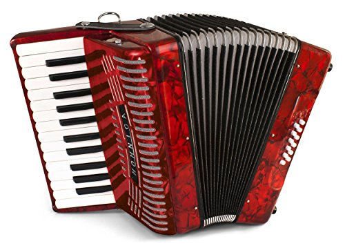 Hohner Accordions 1303-RED 12 Bass Entry Level Piano Accordion, Red -