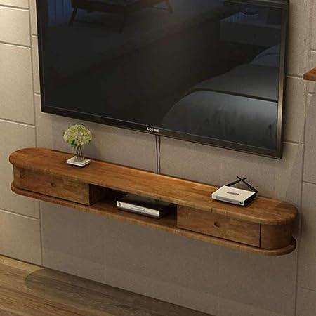 Estantes flotantes TV De La Pared Del Gabinete De Pared For TV Creativo Pequeño Apartamento Set-top Box Rack Habitación Sala Plataforma Router Inalámbrico Estante Colgante De Pared De La Repisa De La: