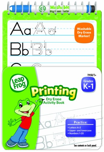 LeapFrog Printing Dry Erase Activity Book for Grades K-1 with Washable Dry Erase Marker (19450)