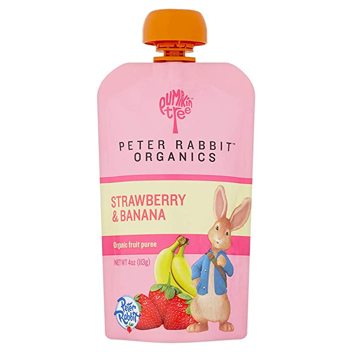 Peter Rabbit Organics Strawberry and Banana Pure Fruit Snack, 4 Ounce Squeeze Pouch (Pack of 10)
