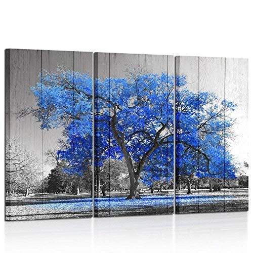 Kreative Arts Canvas Print Wall Art Painting Contemporary Blue Tree in Black and White Style Fall Landscape Picture Modern Giclee Stretched and Framed Artwork Vintage Wood Style (16x32inchx3pcs/set) ()