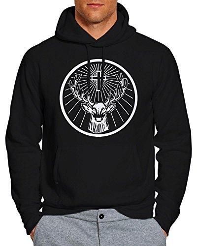 Jagermeister Stag Logo Positive Hoodie Pullover Unisex Sweatshirt - Black - Large FW