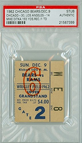 1962 Chicago Bears Ticket Stub vs Los Angeles Rams Mike Ditka 155 Yds Rec, TD - Bears 30-14 December 9, 1962 PSA/DNA Authentic Dec 9 1962 [Grades Clean Excellent]