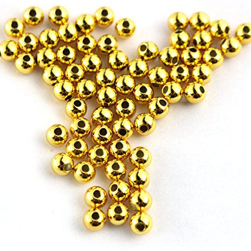 Gold Plated Silver Spacer - 50pcs Genuine Gold Plated 925 Sterling Seamless Silver Round Ball Beads Spacer for Jewelry Making Findings (2mm)