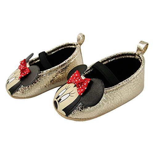 Disney Baby Girls Infant, gold minnie mouse dress shoe, 6-9 Months